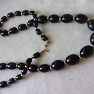 Vintage Monet black graduated bead necklace